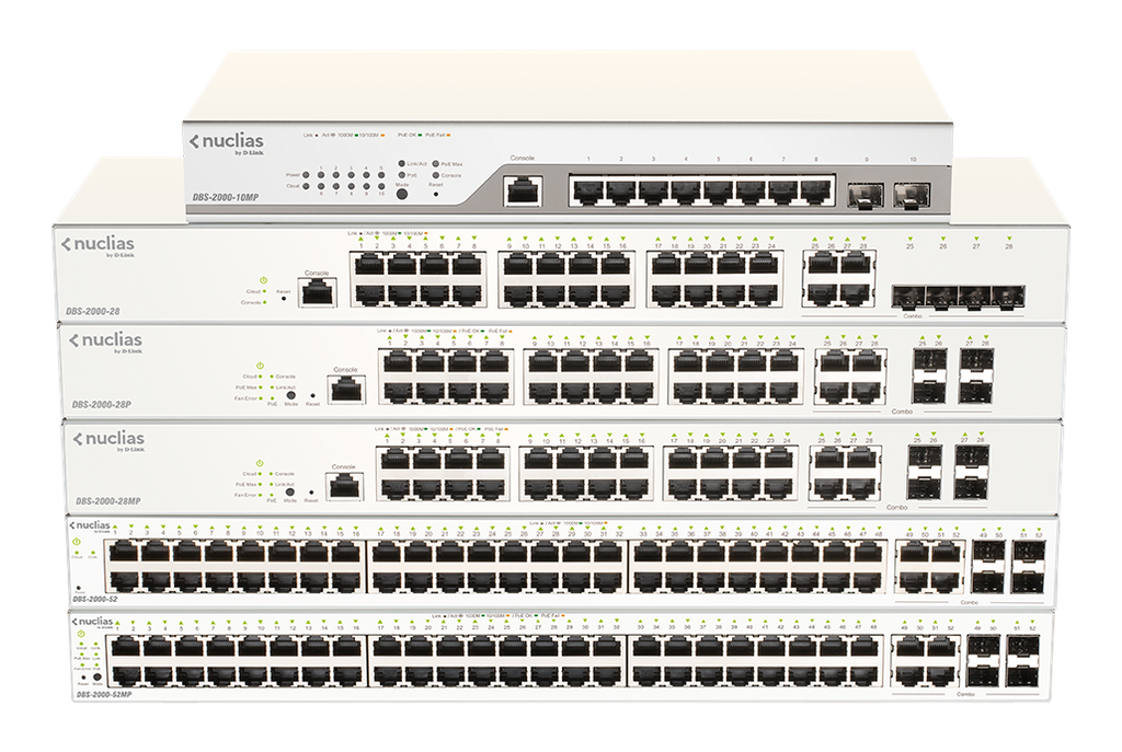 D-Link DBS-2000-52MP 48-Ports 10/100/1000Mbps PoE + 4-Ports Combo GE/SFP Cloud Networking Switch