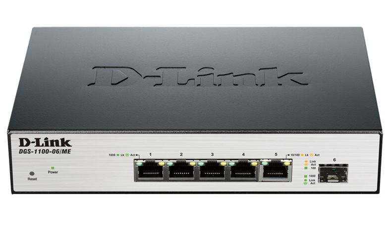 D-Link DGS-1100-06/ME/E 5-port 1000Base-T Easy Smart gigabit Switch with 1 x SFP port, IPv6 support, MetroEthernet switch
