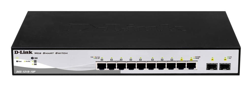 D-Link DGS-1210-10P 8-ports 10/100/1000Base-T PoE + 2 SFP ports Smart Switch, 65W PoE Power budget. (802.3af/802.3at support)