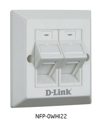 [NFP-0WHI22] D-Link Dual Angular Faceplate Accepts Two Keystone Jacks with Shutter & ID Plate- 86*86 mm - White Colour - Square